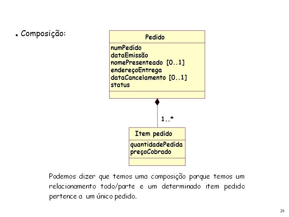 Composição: Pedido numPedido dataEmissão nomePresenteado [0..1]